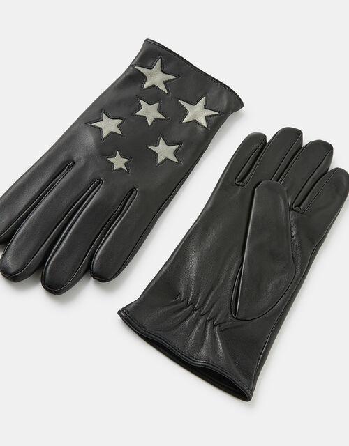 Shimmer Star Leather Gloves, Black (BLACK), large
