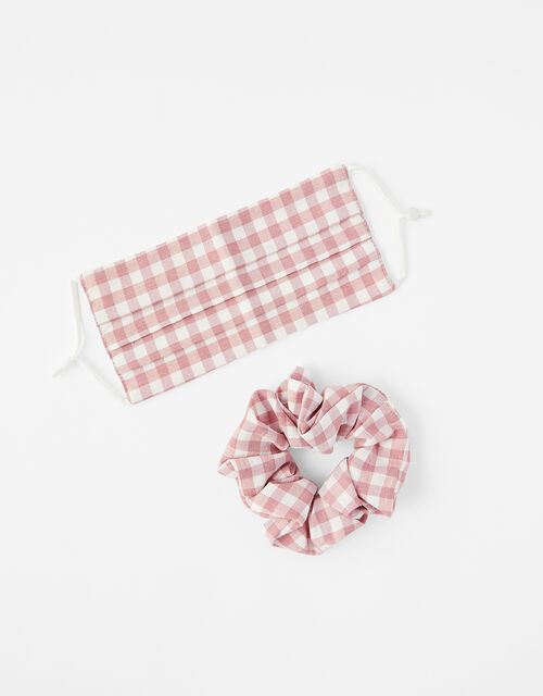 Gingham Face Covering with Matching Scrunchie, , large