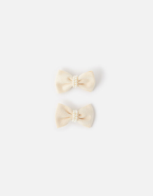Pearly Bow Clips, , large