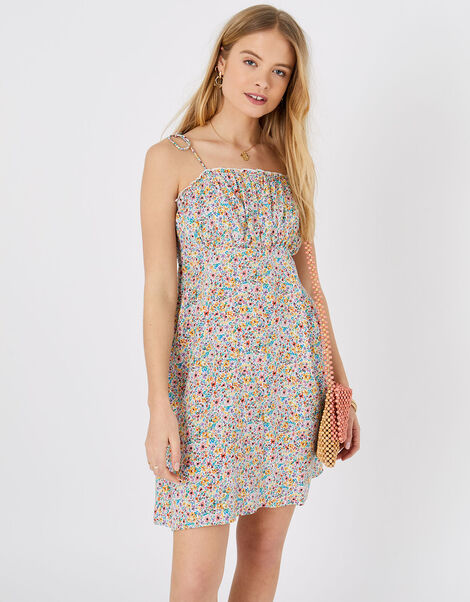 Ditsy Floral Ruched Mini Dress Multi, Multi (BRIGHTS-MULTI), large