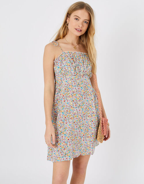 Ditsy Floral Ruched Mini Dress, Multi (BRIGHTS-MULTI), large