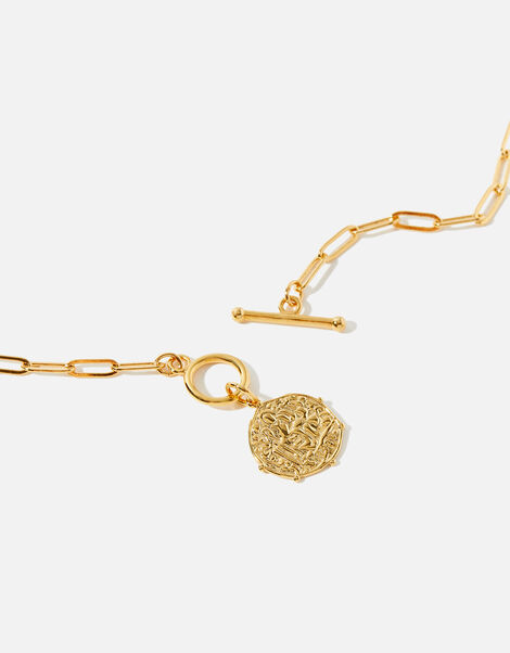Gold-Plated Coin and T-Bar Necklace, , large
