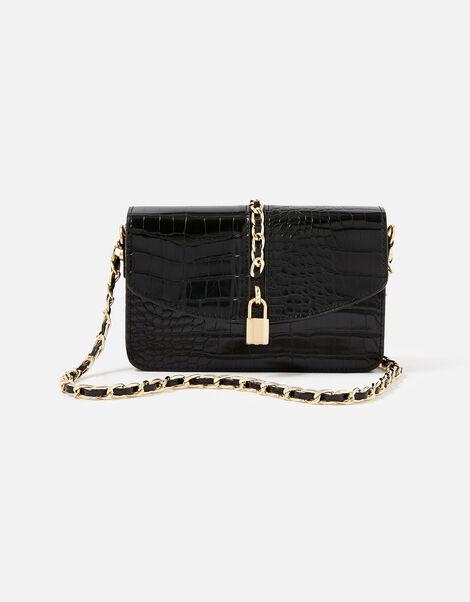 Alicia Padlock Cross-Body Bag Black, Black (BLACK), large