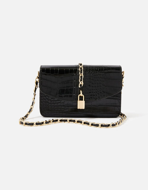 Alicia Padlock Cross-Body Bag, Black (BLACK), large