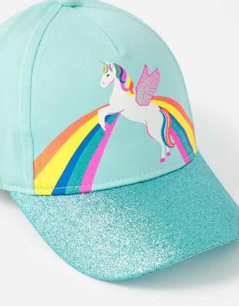 Retro Unicorn Glitter Baseball Cap Blue, Blue (AQUA), large