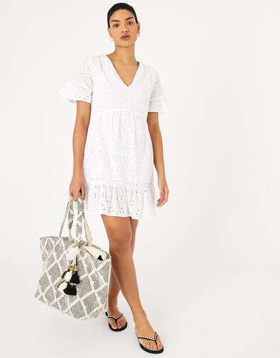 Schiffly Mini Dress White, White (WHITE), large