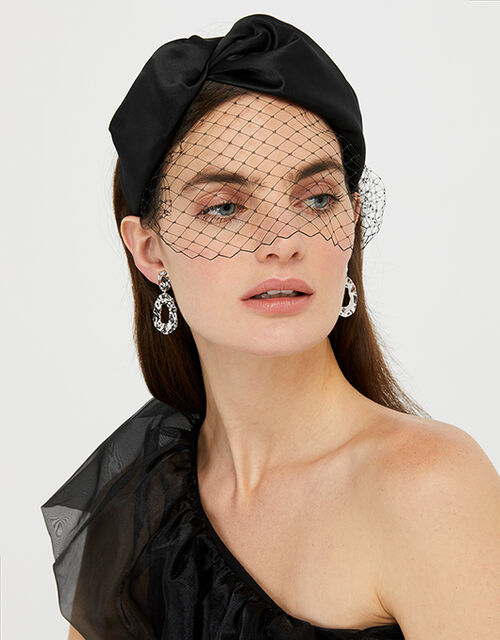 Taylor Satin Headband with Veil, Black (BLACK), large