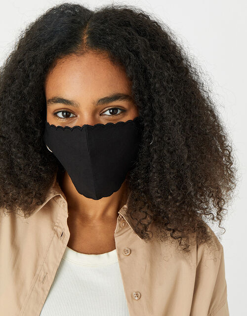 Scallop Edge Face Covering, Black (BLACK), large