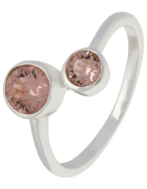 Sterling Silver Ring with Swarovski® Crystals, Pink (PINK), large