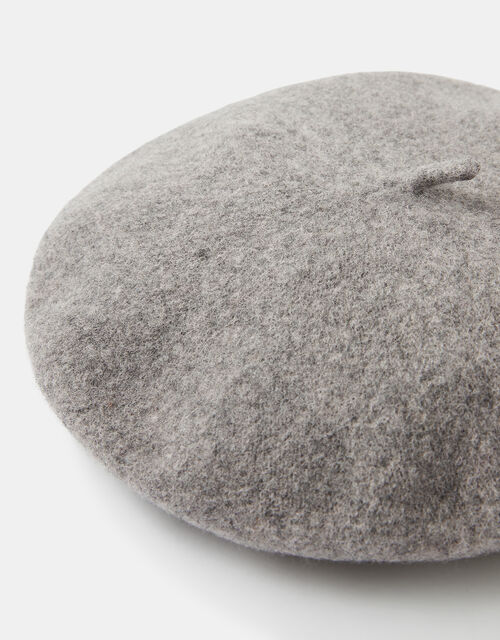 Beret Hat in Pure Wool, Grey (GREY), large