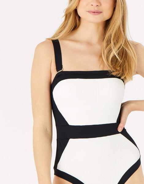 Illusion Textured Shaping Swimsuit Black, Black (BLACK), large