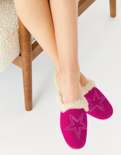Embellished Star Velvet Slippers Pink, Pink (PINK), large