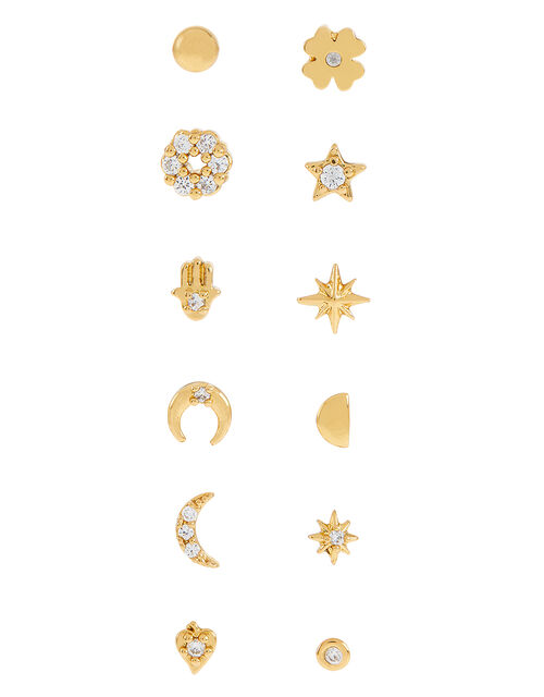 Gold-Plated Sparkle Single Stud Multipack, , large