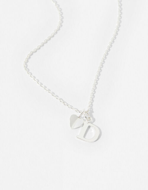 Sterling Silver Heart Initial Necklace - D, , large
