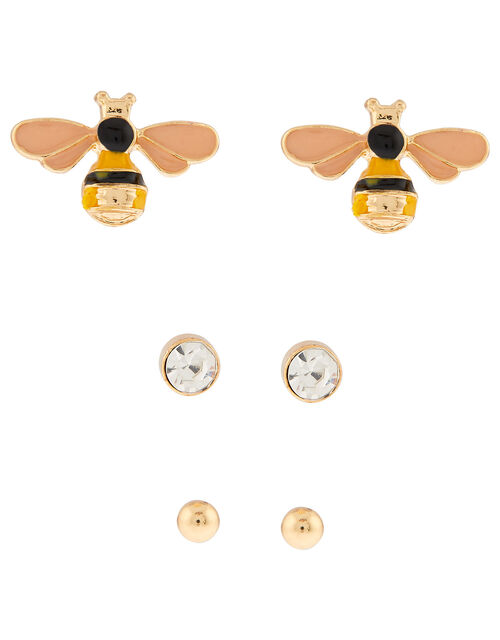 Bee, Crystal and Ball Stud Earring Set, , large