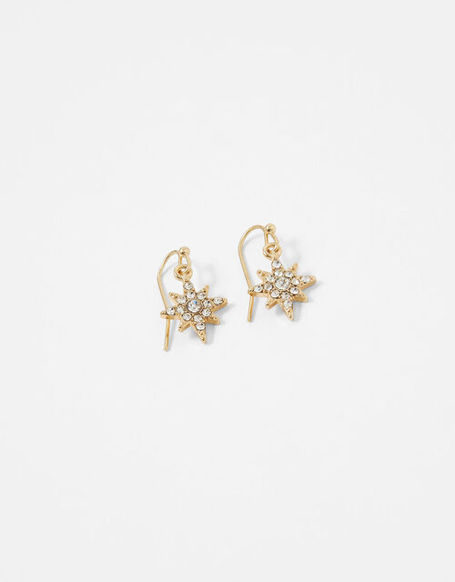 Pave Star Droplet Earrings, , large
