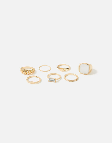 Reconnected Statement Signet Rings Cream, Cream (PEARL), large