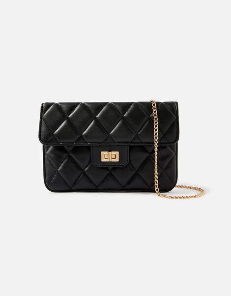 Quilted Clutch Bag Black, Black (BLACK), large