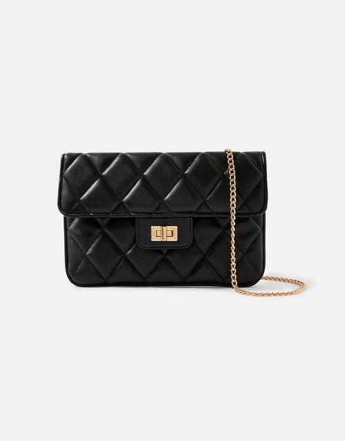 Quilted Clutch Bag, Black (BLACK), large