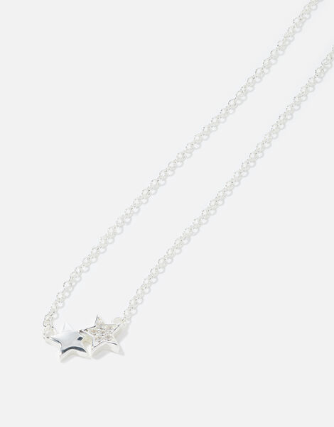 Sterling Silver Double Star Necklace , , large