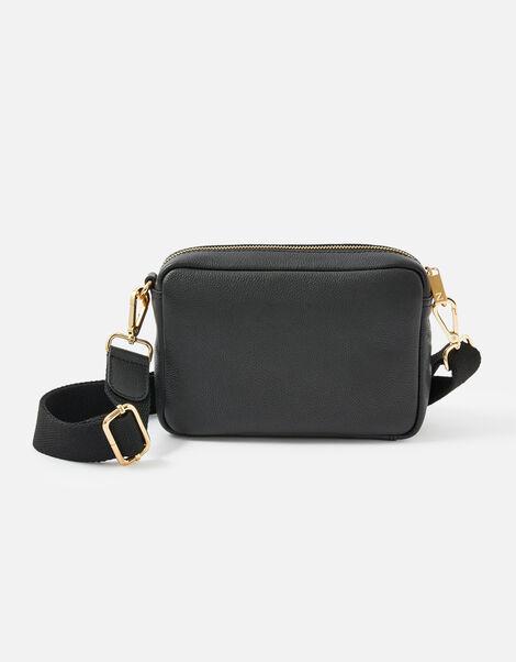 Leather Cross-Body Camera Bag  Black, Black (BLACK), large