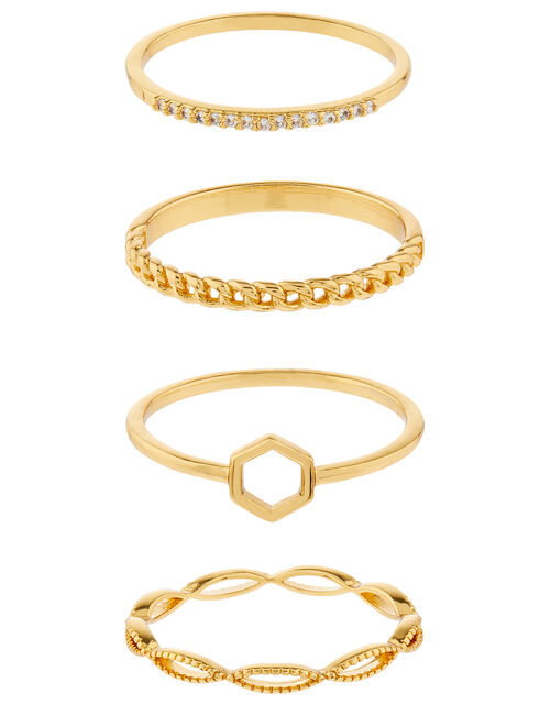 Rose Gold-Plated Hexagon Ring Set, Gold (GOLD), large