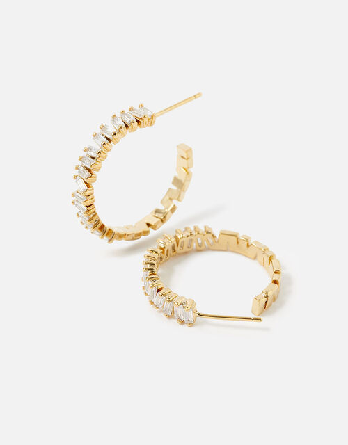 Gold-Plated Baguette Hoops, , large
