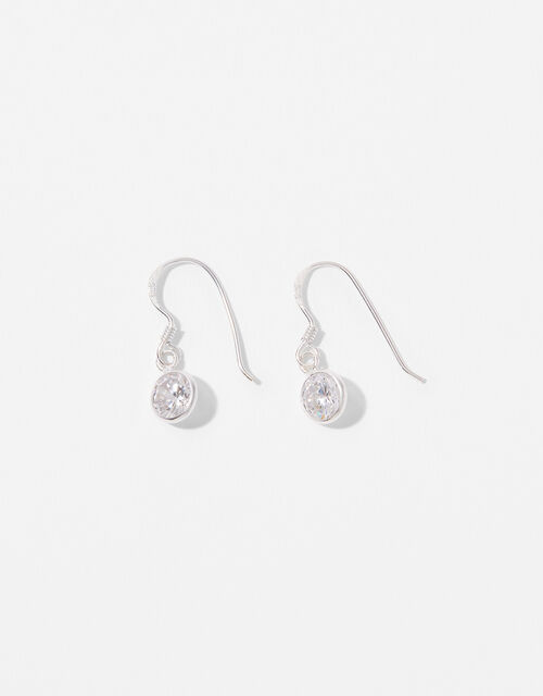 Sterling Silver Crystal Short Drop Earrings, , large