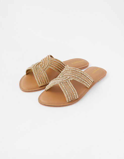 Seville Beaded Sliders, Gold (GOLD), large