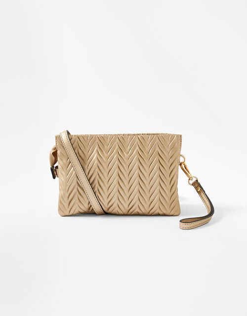 Paige Pleated Cross-Body Bag, Gold (GOLD), large