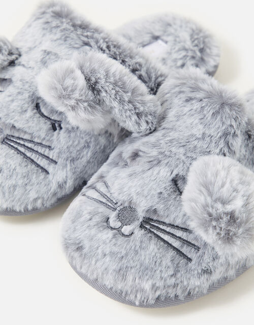 Bunny Mule Slippers, Grey (GREY), large