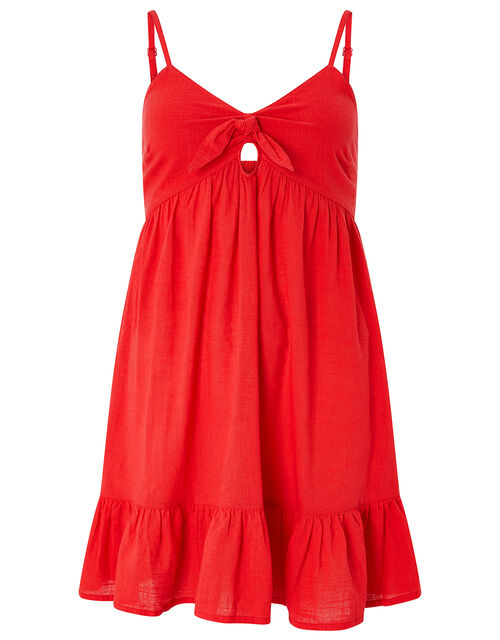 Tie Front Mini Dress, Red (RED), large