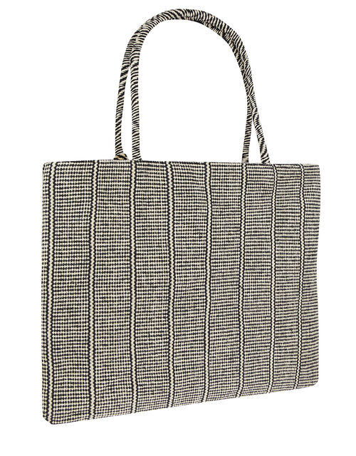 Meera Woven Shopper Bag with Tassel Trim, , large