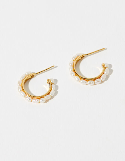 Gold-Plated Freshwater Pearl Hoops, , large