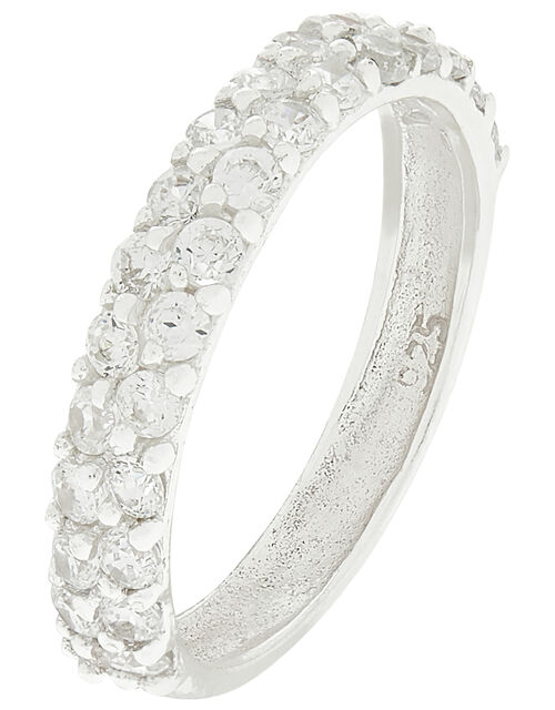 Sterling Silver Sparkle Gem Band Ring, White (ST CRYSTAL), large