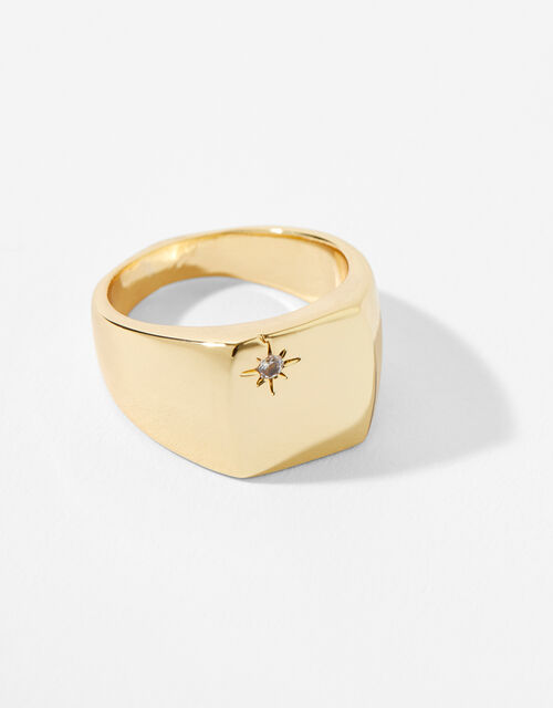 Gold-Plated Star Signet Ring, Gold (GOLD), large