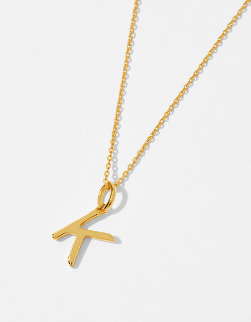 Gold Vermeil Initial Pendant Necklace - K, , large