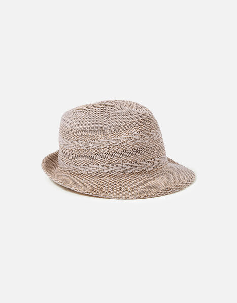 Packable Chevron Trilby Hat Natural, Natural (NATURAL), large
