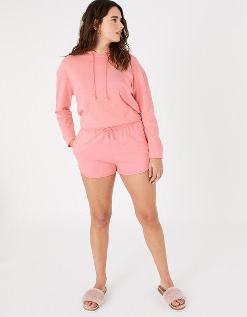 Plain Sweat Shorts, Orange (CORAL), large