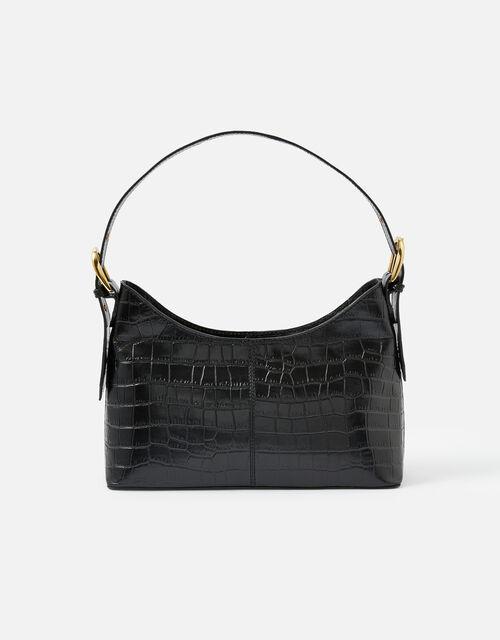 Croc Leather Shoulder Bag, , large