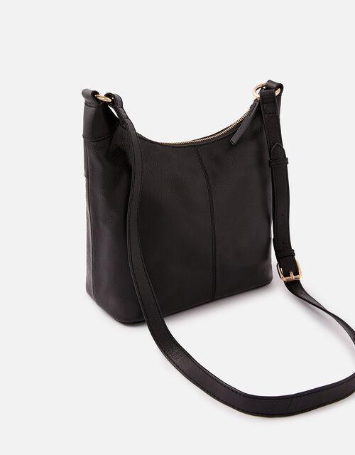 Sadie Leather Scoop Cross Body , Black (BLACK), large
