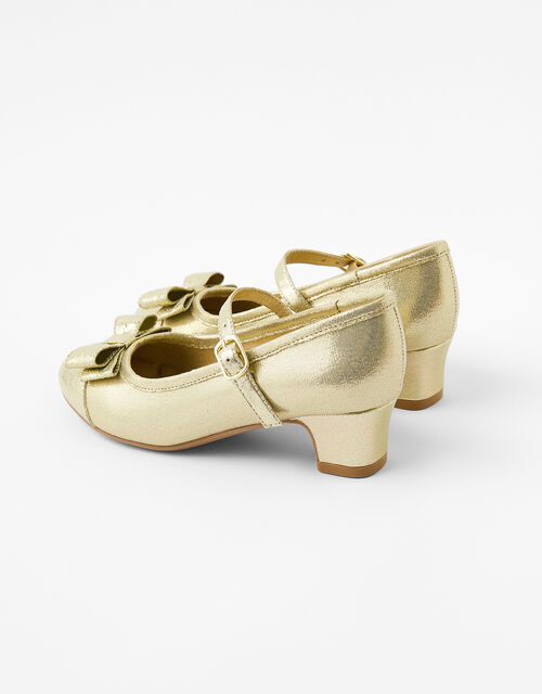 Bow Shimmer Flamenco Shoes, Gold (GOLD), large
