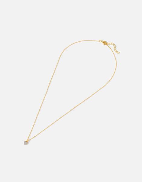 Gold Vermeil Pave Heart Necklace, , large