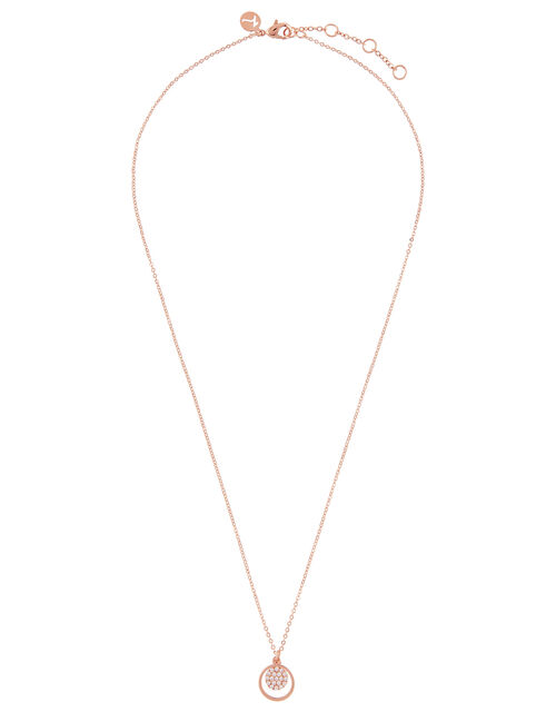 Rose Gold-Plated Sparkle Hoop Pendant Necklace, , large
