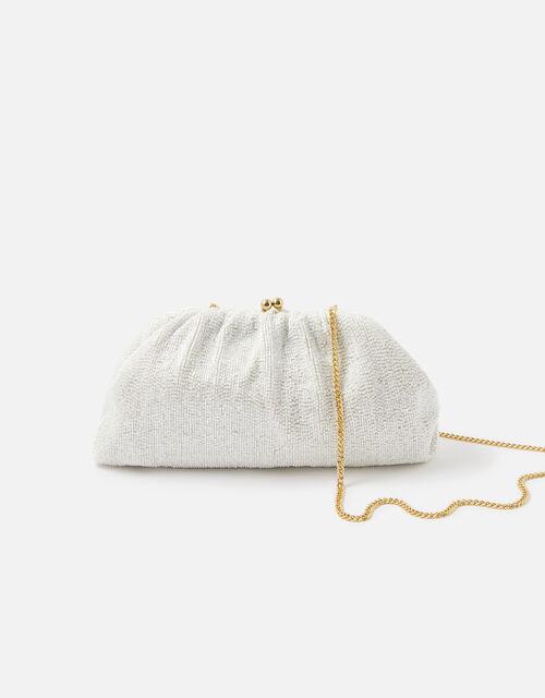 Beaded Shimmer Clutch Bag, Natural (IVORY), large