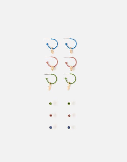 Stud and Huggie Hoop Earring Set, , large