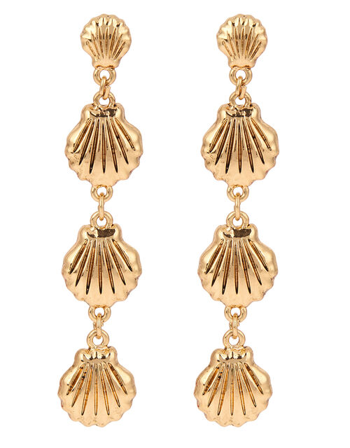Cockle Shell Long Drop Earrings, , large
