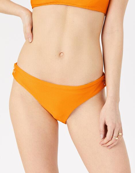Eyelet Detail Ribbed Bikini Briefs Orange, Orange (ORANGE), large