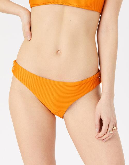 Eyelet Detail Ribbed Bikini Briefs, Orange (ORANGE), large