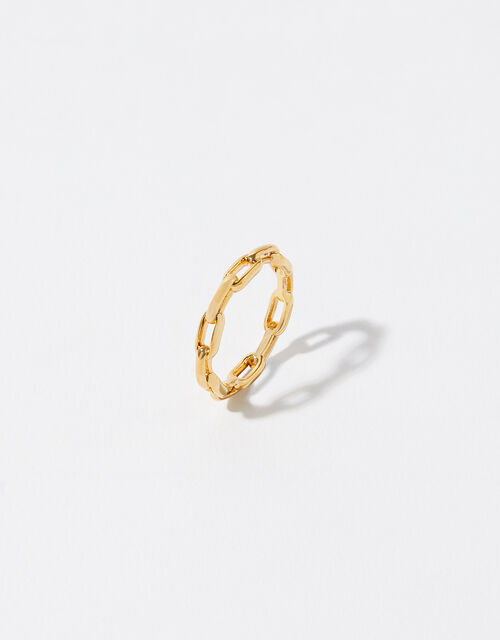 Gold-Plated Chain Band Ring, Gold (GOLD), large